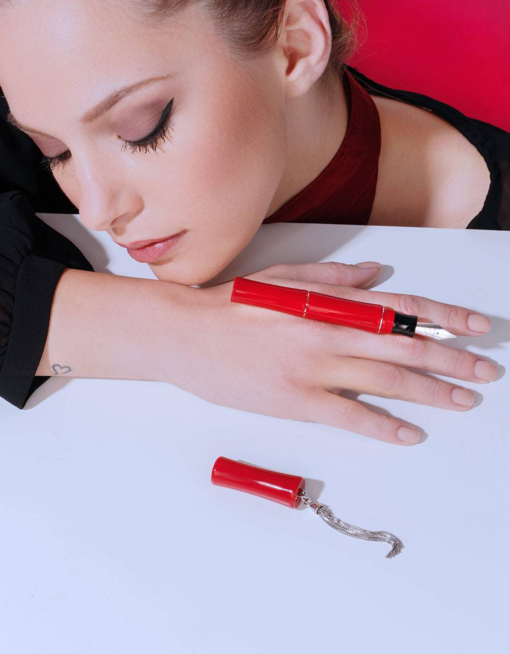 lipstick red resin fountain pen with sterling silver tassel